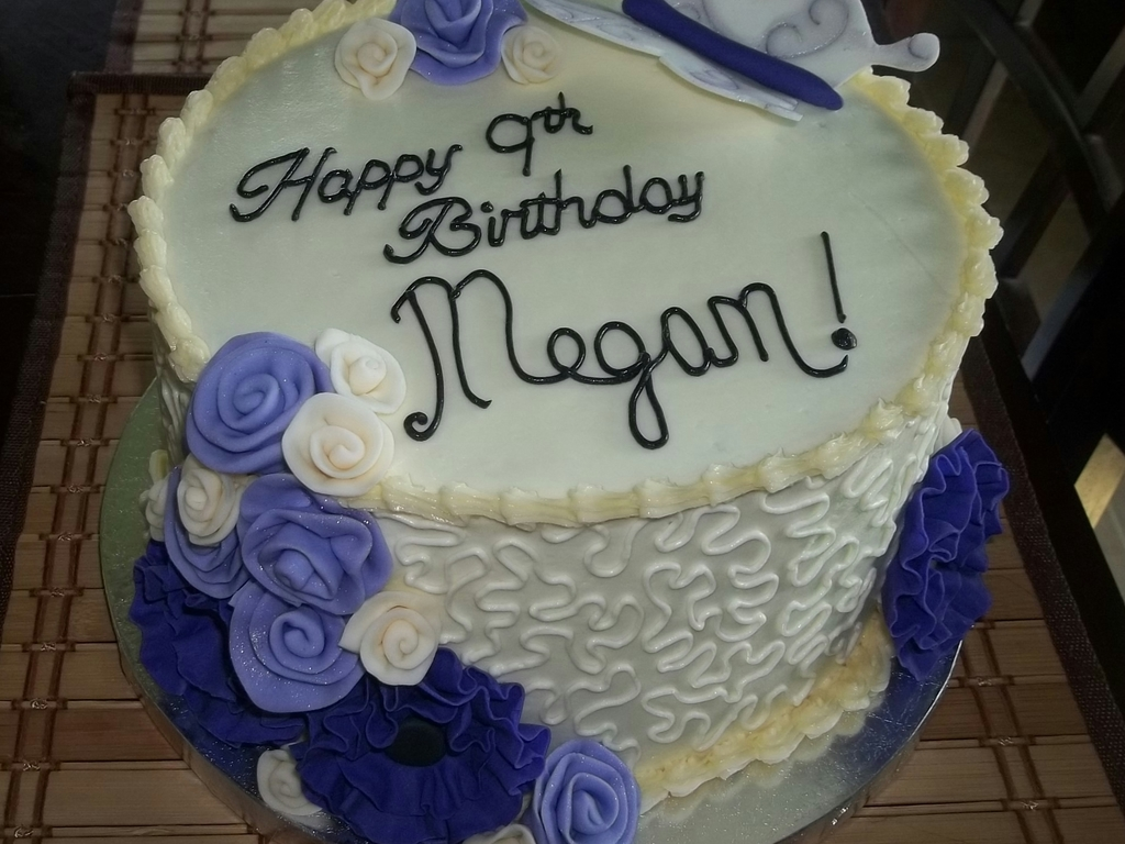 Buttercream Birthday Cake With Purple Flowers Cakecentral