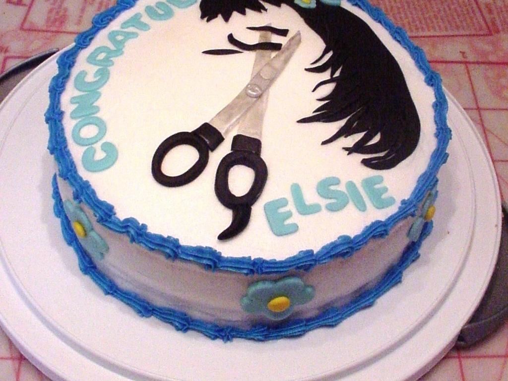 Hair Salon Graduation Cake Scissors - CakeCentral.com