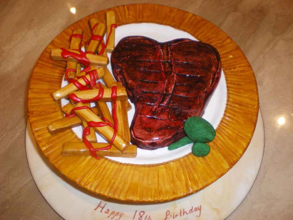 Enjoyable Steak And Chips Birthday Cake Cakecentral Com Funny Birthday Cards Online Inifofree Goldxyz