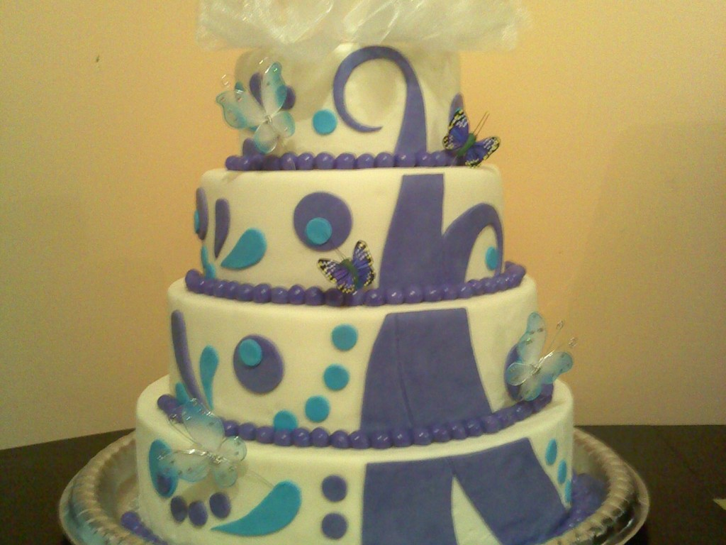 Purple And Blue Wedding - CakeCentral.com