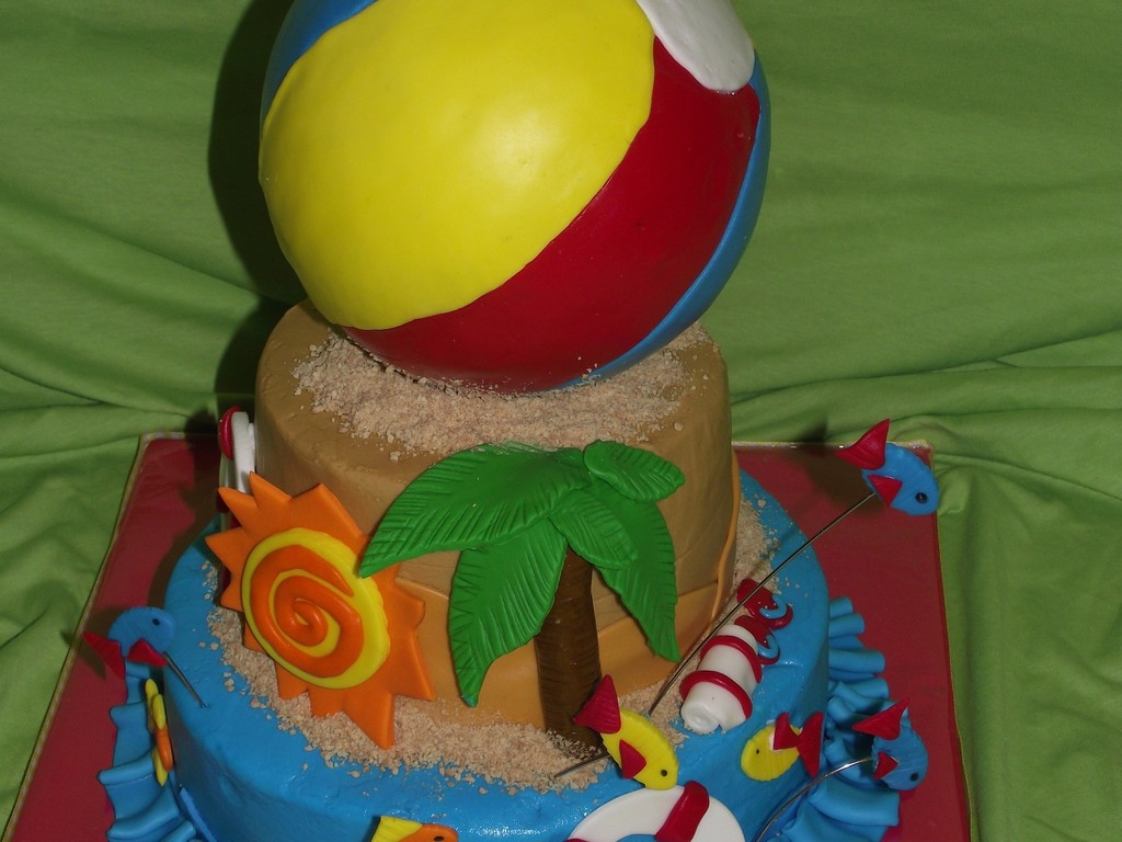 Beach Theme Cake With Ball Topper