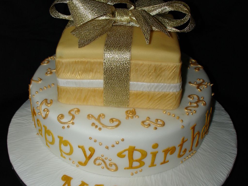 Gold And White 75Th Birthday Cake