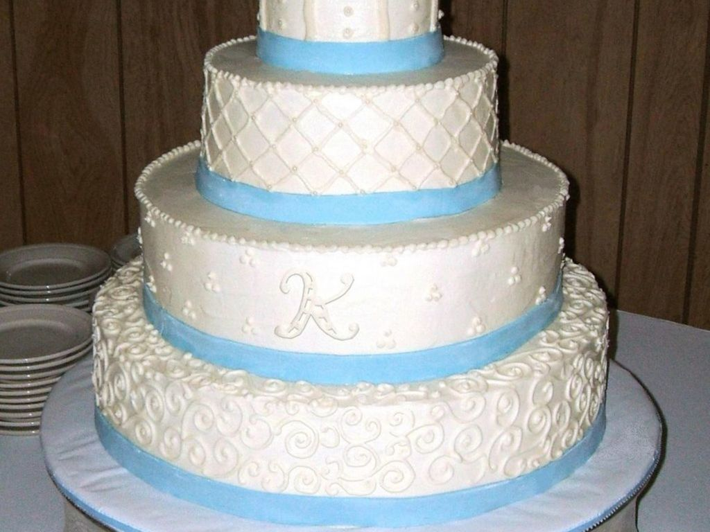 White With Blue Ribbon - CakeCentral.com