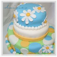 Blue Daisies  I decorated this cake today - it was a test cake to see what would happen with a layer cake without supports (dowels/posts). It was okay,...