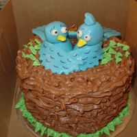Bluebirds   Small birthday cake for a bird lover. Got inspiration from similar cakes on this site. MMF birds.