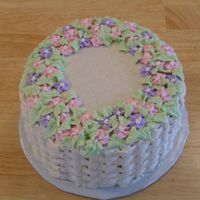 "Simple Birthday Cake For Mother In Law   6"" round oatmeal cake with cinnamon buttercream icing"