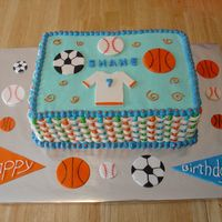 Multi-Sports Ball Cake   Birthday cake for 7 year old boy. Balls made from fondant.