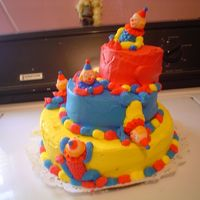 "Clowns   I made this for a neighbors little boy. This is my first 'topsy turvy"" cake. It was sooooo fun to make"