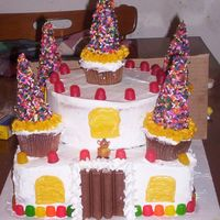 "Colorful Candy Castle Castle Cake for my daughter's 3rd birthday....not as nice as I would like but she ""helped"" me and if you all have ever tried..."