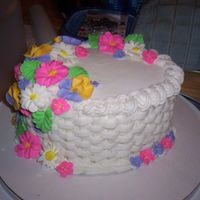 Second Course   Basket weave with buttercream flowers