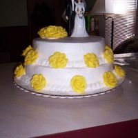 Sue Wedding   first wedding cake buttercream with buttercream roses