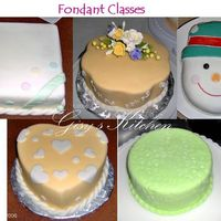 Fondant Class These are my first cakes with fondant. I already got my first order for a 25th aniversary cake when one of my co-workers saw these.