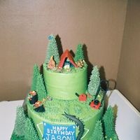 Lawnmowing And Camping Cake everything is edible. Fondant tent, man, blanket, hiking boots, logs and rocks, bird, lawnmower, gas can, rake, trashcan, and centipede(...