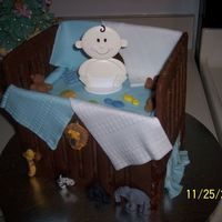 Baby Shower Crib What a fun cake! EVERYTHING was edible except for the baby obviously... I was just exhausted at that point.Triple Chocolate Cake with...