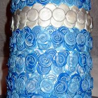 Blue Mosaic Cake 2 I made this with 5-6in layers with a lot of blueberry and lemon mousse filling in between, so it was VERY tall and almost tipped over. ah...