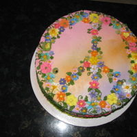 Peace   This cake was made by my sister all the flowers are made of royal icing.