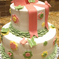 Baby Shower Cake W/butterflies baby shower cake, pink, yellow, green with butterflys