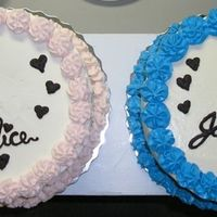 Alice & Jackie Alice's cake is white w/strawberry cream filling iced w/stablized whipped cream,,,,,,,,,,Jackie's cake is butter pecan filled and...