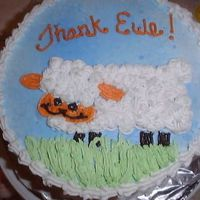 "Thank ""ewe"" Sheep Cake Pretty simple.....butter cream on a 8 inch round. Done free hand from a clip art picture."