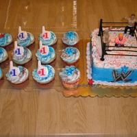 Lennon The Wrestler   Wrestling cake and cupcakes for a 2 yr old who loves to wrestle his siblings. Thanks for looking.