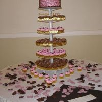 Pink And Brown Cupcake Stand Pink and Brown cake and cupcake stand for a anniversary celebration and retirement party. Thanks for looking!!