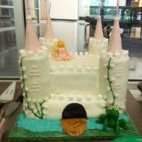 "Castle Cake  I made this cake for my daughter's 4th birthday. Bottom layer is 2-14"" squares (yellow cake w/BC), top layer is 2-10""..."
