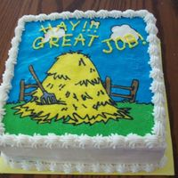 Hayride Cake This was a cake I did for the youth group at my church. The kids earned a hayride by memorizing bible verses. FBCT with BC writing.