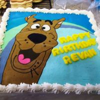 Scooby Cake FBCT with MMF letters. Picture was taken from the birthday party invitation.