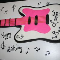 "Guitar Cake  My friend's little girl is turning ""8"" and is having a Rock Star party. She wanted an electric guitar. This is my first one..."