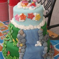 Dora & Boots Made for 3-year old b-day party. Cakes covered in fondant and details made of fondant/royal icing.