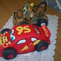 Lightning Mcqueen & Mater - Side MMF, Lightning Strawberry cake with whipped cream under the MMF, Mater marble cake with whipped cream under the MMF. Thanks for everyone...