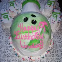 Bowling Cake Whipped Cream, Fondant on the ball