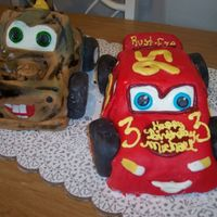 Lightning Mcqueen & Mater MMF, Lightning Strawberry cake with whipped cream under the MMF, Mater marble cake with whipped cream under the MMF. Thanks for everyone...