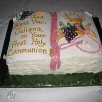 Open Book Communion Cake With Chalice, Rosary, Grapes Customer found a cake similar to this on the web. I changed a few things. Made using the Wilton 2 Mix book pan on top of an 11x15 sheet....