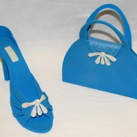 Blue Shoe & Purse Gum paste shoe and purse made with Stephen Benison cutters.