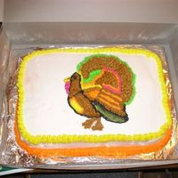 Thanksgiving Cake Butter cake with BC freehand drawing of the turkey. Was my first paid cake ever