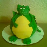 Spotty Dino Cake This cake comes from one of Debbie Browns book. DH put me up to a challange to see if I could make one. Its a french vanilla cake with MMF...