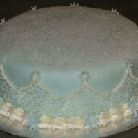 Onawed.jpg Chocolate cake with cookies and cream filling. Covered in fondant and sprinkled with course sugar.