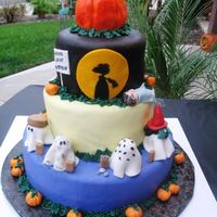 It's The Great Pumpkin Charlie Brown! Many thanks to one of this year's spooky contest entries...my cake was totally inspired by yours. Top pumpkin cake was made with the...