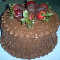 Chocolate, Chocolate And More Chocolate This was an awesome chocolate cake I made for practice, covered with fresh strawberry's dipped in chocolate.