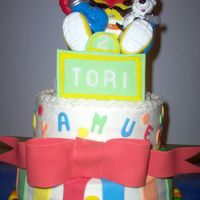 Elmo Birthday Cake This was a birthday cake I did for my nieces 2nd birthday. This was a 10 & 8 inch cake. Buttercream with fondant/gumpaste accents.