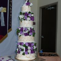 First Wedding Cake!!!!!!!!!!!!!   First wedding cake, first pillar cake, first Wasc cake! Had to travel 350 miles with it! Its done!!!!!!!!!!!Thanks for looking.