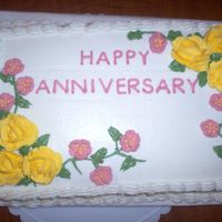 Grandparents 46Th Anniversary Cake  This was a cake my I made for my Grandparents 46th anniversary. It was my first attempt making a Sheet cake. The cake was butter-pecan with...