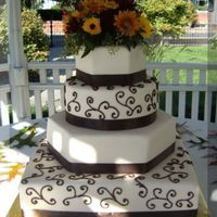 Fall Wedding Cake 6 inch hexagon, 8 inch round, 12 inch hexagon, 14 inch square