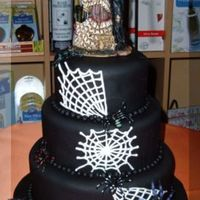 Halloween Wedding Cake 6,8 & 10 inch round cake with black fondant and white spider web