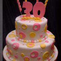 Retro 30Th Birthday Cake 6 & 10 inch rounds, covered in fondant, with pink and yellow retro fondant circles and pearls