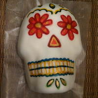 Dia De Los Muertos Birthday Cake I did this for a friend's birthday. I even hand carried it on a plane! I used the Wilton skull pan, covered in fondant and hand...