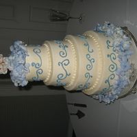 Mmiller.jpg white cake, buttercream icing with periwinkle scrolls. fresh hydrangeas
