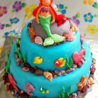 Mermaid, Under The Sea Cake Hi! This is my second decorated cake, first two tier cake, first try at MMF... Phew! It's not perfect, but it was a great learning...