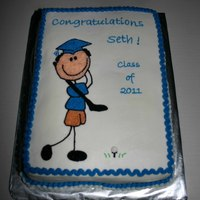 Golfer Graduation Cake Made for a golfer who is graduation high school. All buttercream.